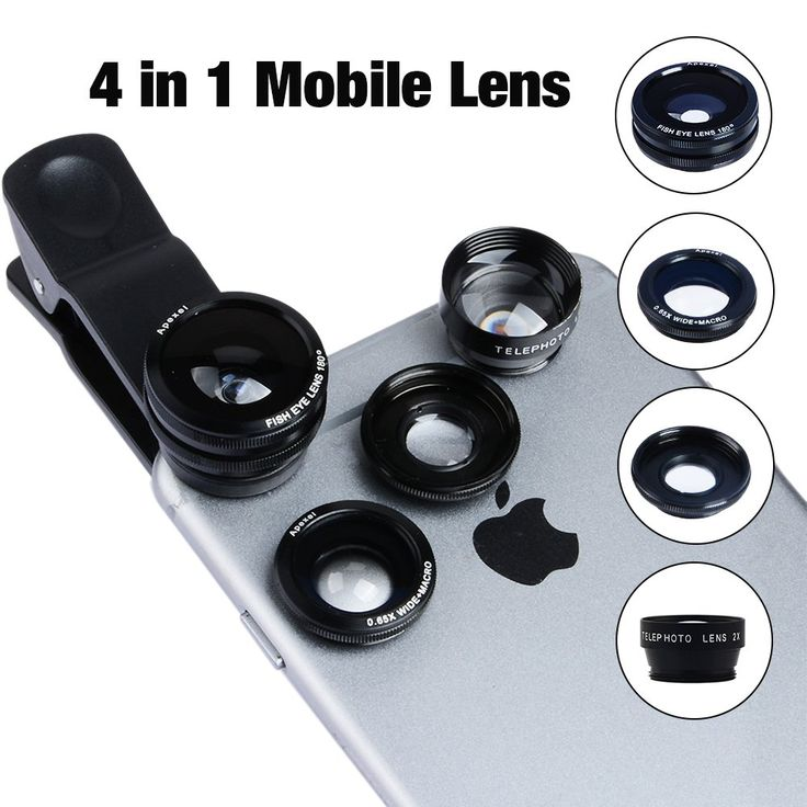 Apexel 4 in 1 phone camera lens 180 degree Fisheye , 0.63 x wide angle ,2 x Telephote ,10 x Macro Lens for iPhone 6/ 6Plus, iPhone 5/5S/5C/4 Samsung HTC Sony LG. Specifications (Fisheye Lens): Angle: 198 degree Magnification: 0.28X Lens Construction: 3 elements in 3 groups Max Diameter: 25mm Length: 15mm. Specifications (Wide Angle Lens): Magnification: Wide 0.63X Super wide Lens Construction: 2 elements in 2 groups Max Diameter: 20mm Length: 5mm Full screen, nearly no dark circle....
