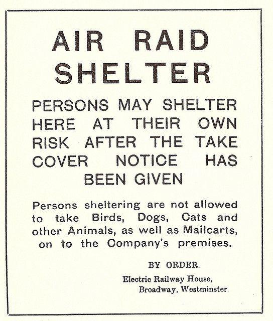 London Underground - First World War air raid shelter poster, September 1917 by mikeyashworth,