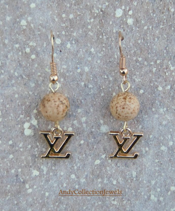 Jasper dangle earrings Replica chanel dangle earrings Replica louis vuitton dangle earrings Cheap classy gift idea Perfect Mother's day gift by AndyCollectionJewels, $11.90 EUR
