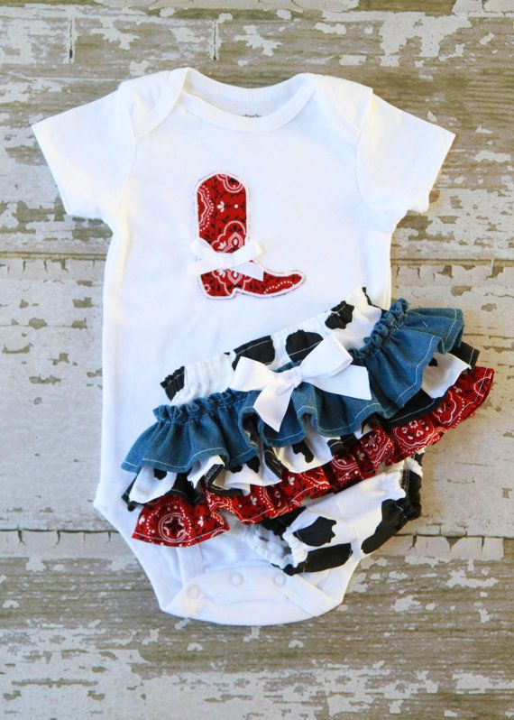 Little Cowgirl Ruffle Bottom Bloomers and Boot Applique Onesie. $40.00, via Etsy. Caleas little one :)