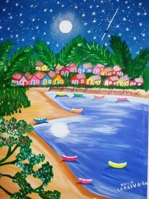 Arte Naif - Duca - Caraiva Bahia Brasil  Céu, lua, estrelas e barquinhos