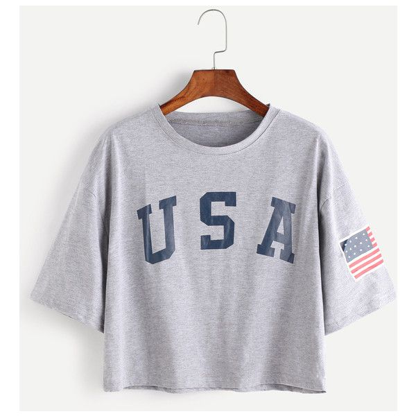 American Flag Letter Print Drop Shoulder Tee ($16) ❤ liked on Polyvore featuring tops, t-shirts, grey, initial t shirts, american flag t shirt, gray tees, american flag tee and letter t shirts