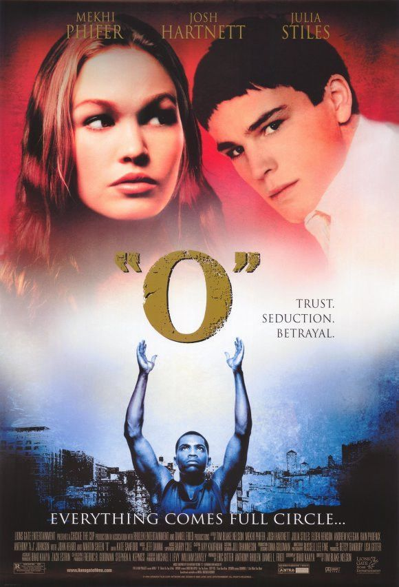 """O"" Movie Poster 27x40 Used Mark Miller, Julia Stiles, Rain Phoenix, Josh Hartnett, John Heard, Elden Henson, Michael Flippo, Andrew Keegan, James Middleton, Evan Jones, Martin Sheen, Chris Freihofer, Wally Welch, Sean Murphy, Christopher Jones"