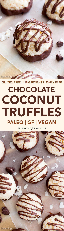 Paleo Vegan Chocolate Coconut Truffles (V, Paleo, GF, DF): an easy, 4-ingredient recipe for deliciously textured coconut truffles dipped in chocolate.