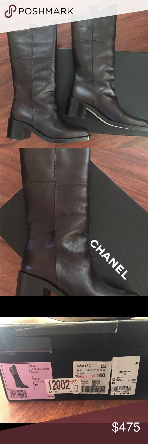 Chanel Paris Dallas High Dark Brown Leather Boots Brand new in box.  The textures are bit different but should even out more with wear.  Size states 40 but these run about half size smaller so US 9 will fit best.  Original price of $1895 CHANEL Shoes Heeled Boots