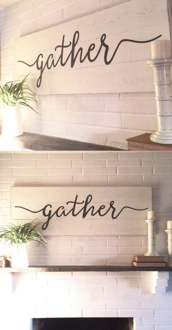 "Gather sign // rustic wall decor // wall decor // gather wood sign // wood signs // wooden signs // farmhouse sign // farmhouse wall decor // 48""x 16.5"""
