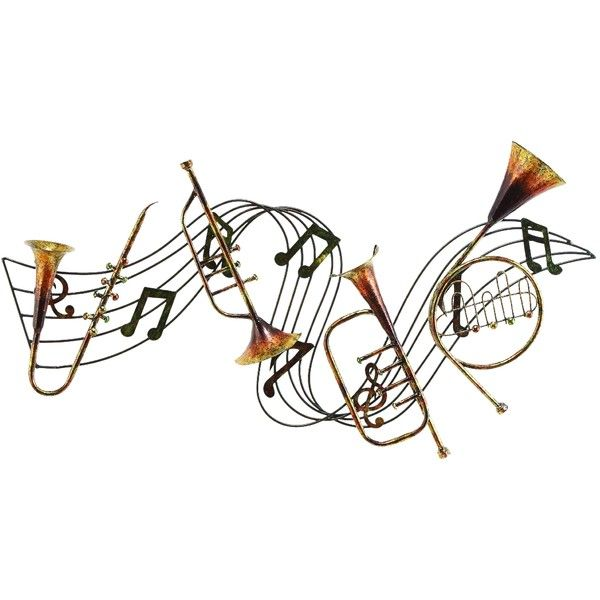 Benzara Metal Musical Inst Decor A Musical Wall Decor ($70) ❤ liked on Polyvore featuring home, home decor, wall art, music, art, yellow, music sheet, metal wall art, sheet music wall art and music wall art