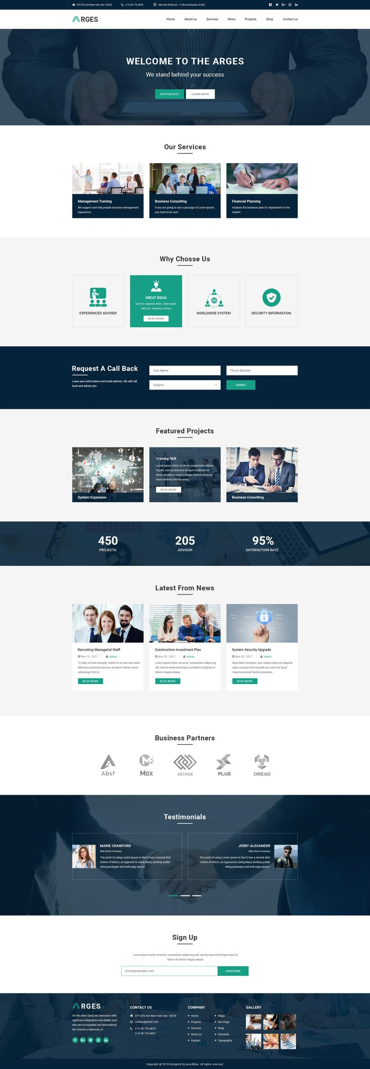 Arges Corporate is a clean HTML5/CSS3 Template suitable for Business, Professional, Company and Consulting Services. #psd #webdesign #uidesign