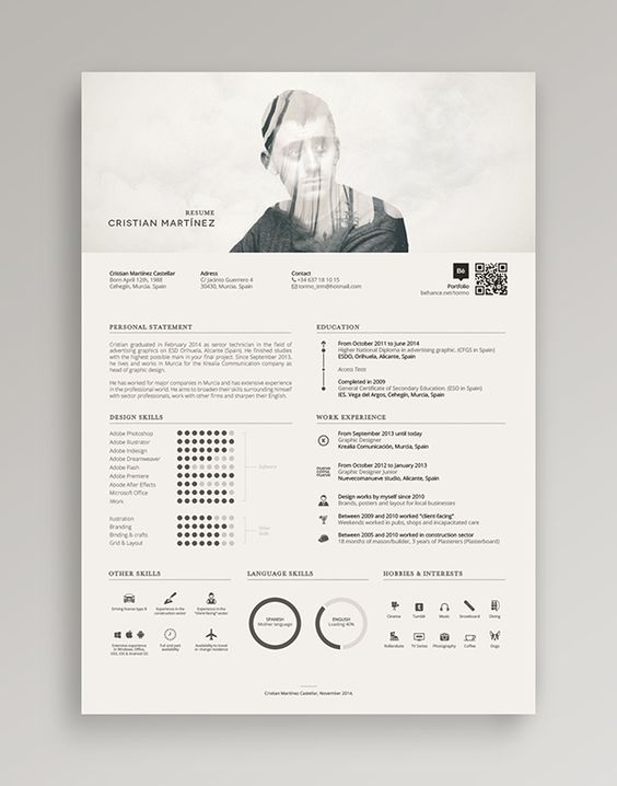 Damn cool resume! He mixed the double exposure for his profile photo.: