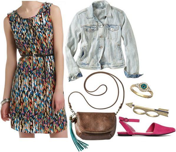 Kmart abstract print dress, pink flats, denim jacket, crossbody bag