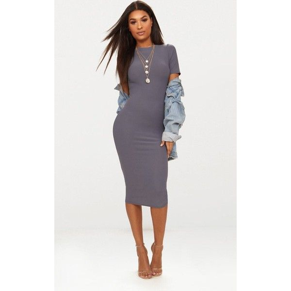 Charcoal Grey Cap Sleeve Midi Dress ($11) ❤ liked on Polyvore featuring dresses, grey, cap sleeve dress, midi dress, charcoal dress, cap sleeve midi dress and charcoal grey dress