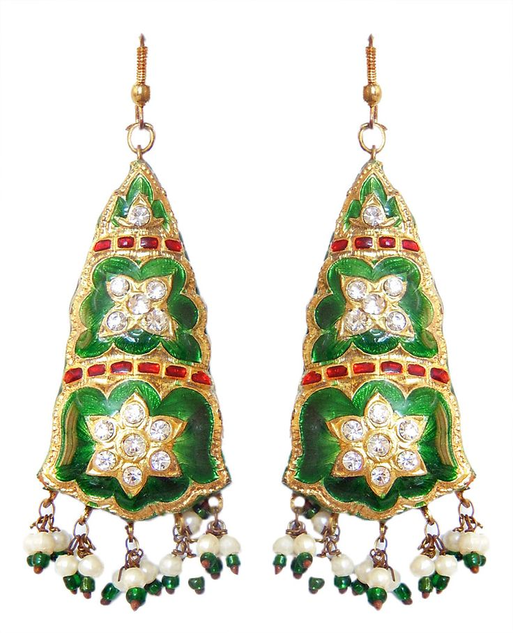 Green+with+Golden+Dangle+Lac+Earrings+(Lac,+Bead+and+Stone)