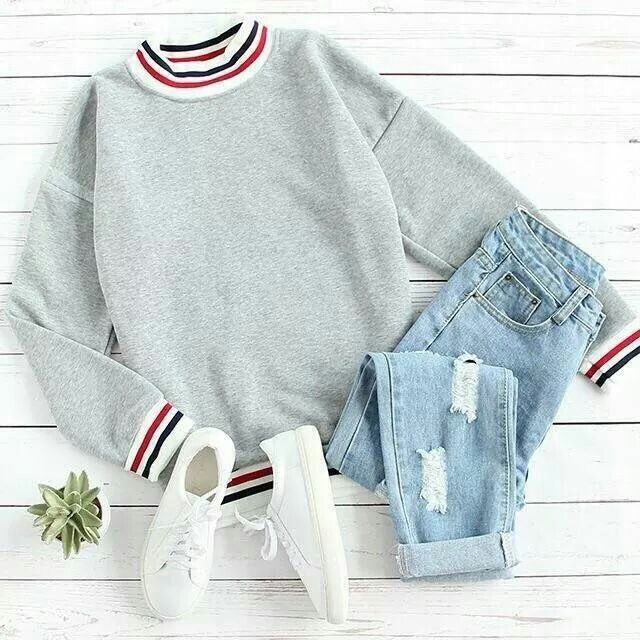 fashion cute outfits jeans sweatshirts vans shoe white grey red blue green accessories gold