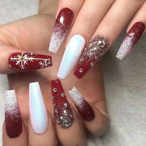 Glitter and Crystals on long Coffin Nails 2019