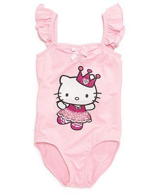Hello Kitty Kids Leotard, Little Girls Flutter Sleeve Leotard