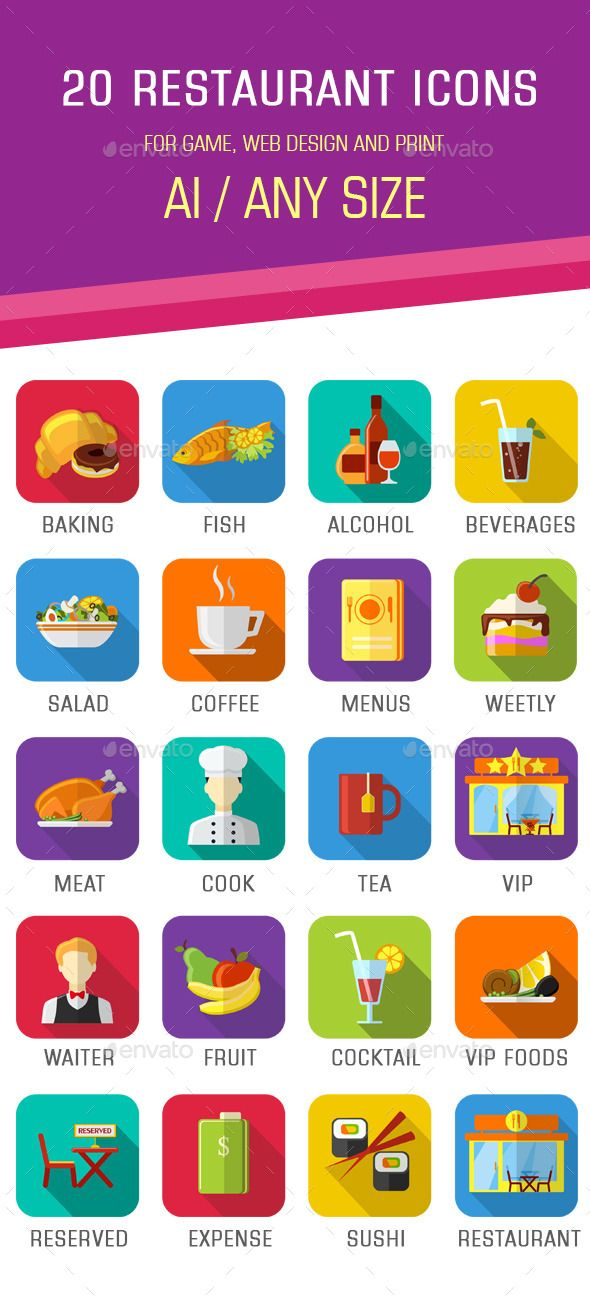 20 flat restaurant icons for game, web design and print Included: 20 restaurant icons AI, 20 restaurant icons PNG, TXT help file