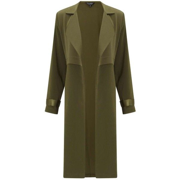 Miss Selfridge Khaki Matt And Shine Duster Coat ($106) ❤ liked on Polyvore featuring outerwear, coats, powder blush, matte coat, shiny coat, khaki duster coat, miss selfridge and miss selfridge coat