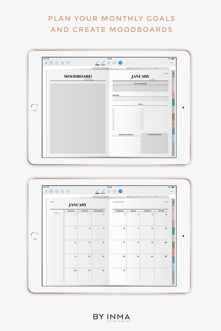 Digital Planner Goodnotes Ipad Pro 2020 Dated Weekly Planner With