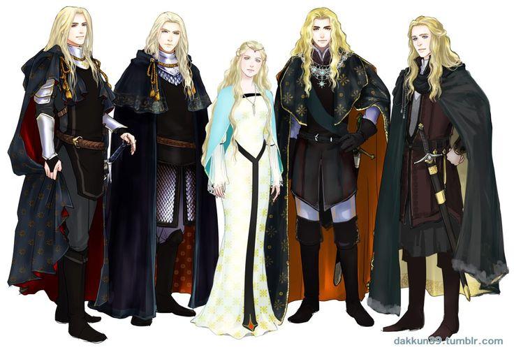 Aegnor, Angrod, Galadriel, Finrod, Orodreth http://dakkun39.tumblr.com/:
