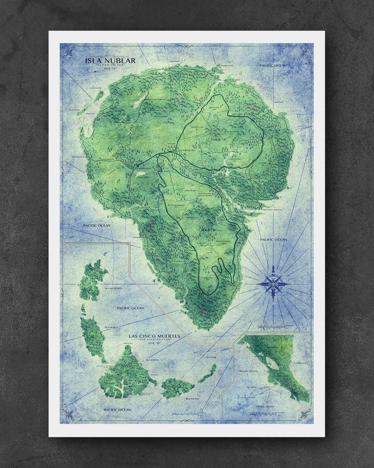 Jurassic Park Map Home Decor Art