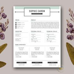 Resume Template | 3 Page Resume and FREE Cover Letter | Modern CV Template for MS Word & iWork Pages | Instant Digital Download ★ BotanicaPaperieShop