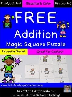 FREE addition math games - 1st, 2nd, 3rd grade - extra review and practice