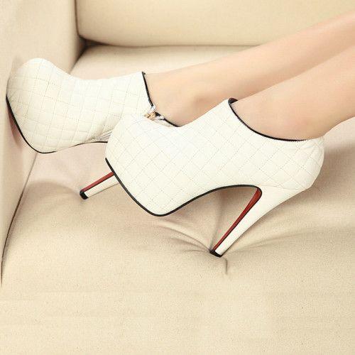 Pretty White PU Round Closed Toe Stiletto Heel High Heel Boots #White #ShopSimple