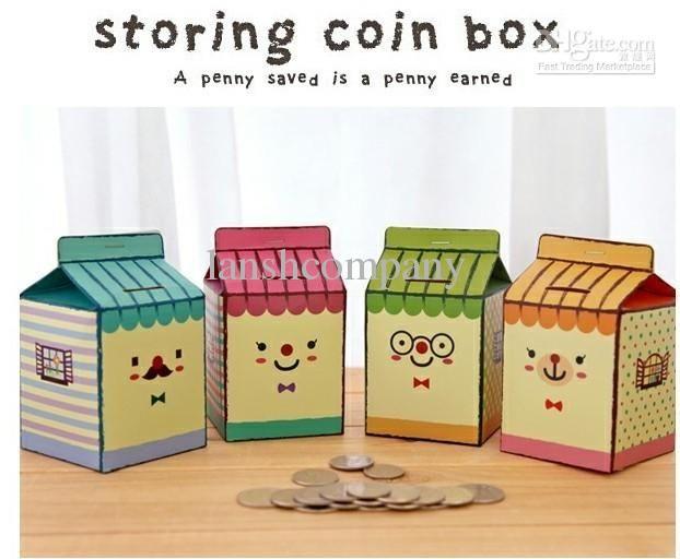 Wholesale 16PCS/Lot , Korea Stationery Fashion Cute DIY Paper Milk Carton Shape Coin Bank / Money Box /Piggy Bank, Free shipping, $1.19-1.28/Piece | DHgate