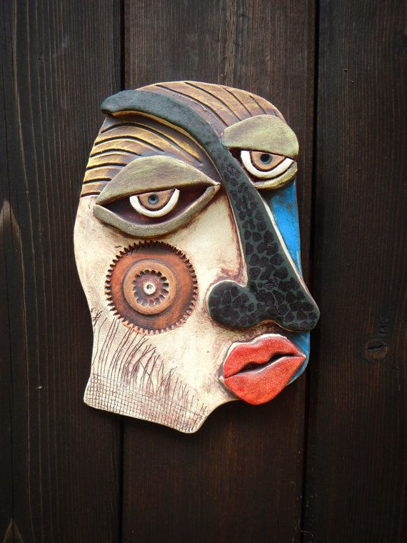 Hopeless Situation Abstract Ceramic Mask Picasso Inspired