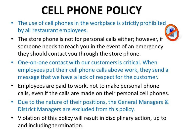 image result for cell phone policy at work