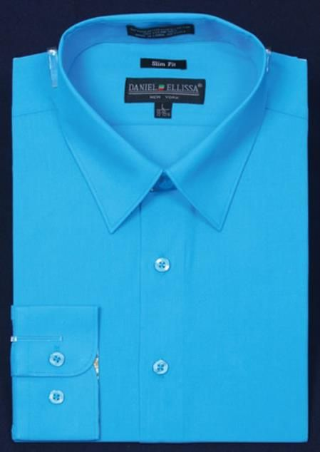 Men's slim fit dress shirt in light blue stage party color.