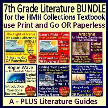 """This is a HUGE bundle which includes teaching resources for the following SIX selections from the 7th Grade Houghton Mifflin Harcourt Collections Textbook and Close Reader: """"Rogue Wave"""", """"Finding Your Everest"""", """"Media Analysis: Covering Issues in the News"""", """"The Flight of Icarus"""" myth,"""