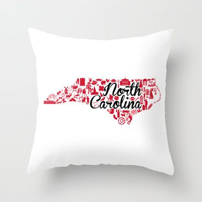 NC State University North Carolina State - Red and Black University Design Throw Pillow by Painted Post