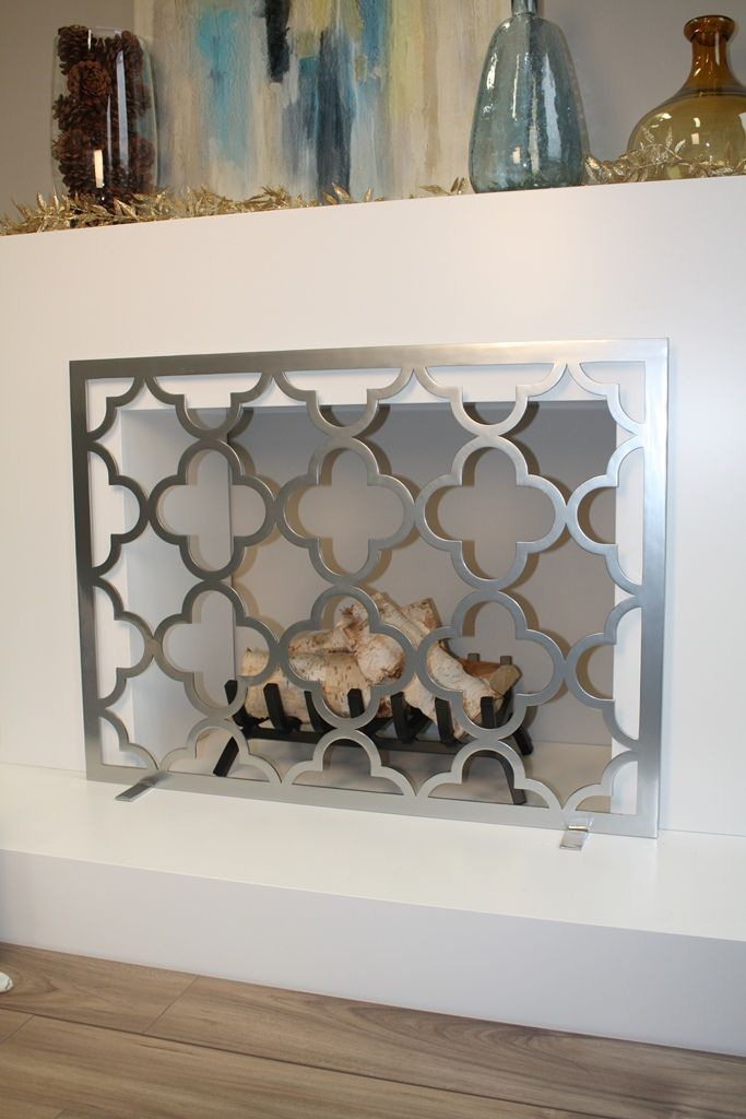Quatrefoil Fireplace Screen in Mirror silver with no mesh backing.  www.anvilfireside.com
