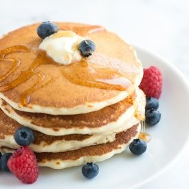 Easy pancake recipe that makes light, fluffy and flavorful pancakes! I'm making this now. I need to try out more of my pinterest recipes!