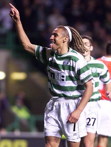 Henrik Larsson - Hogaborgs BK, Helsingborgs IF, Feyenoord, Celtic, Barcelona, Manchester United, Raa IF, Sweden.