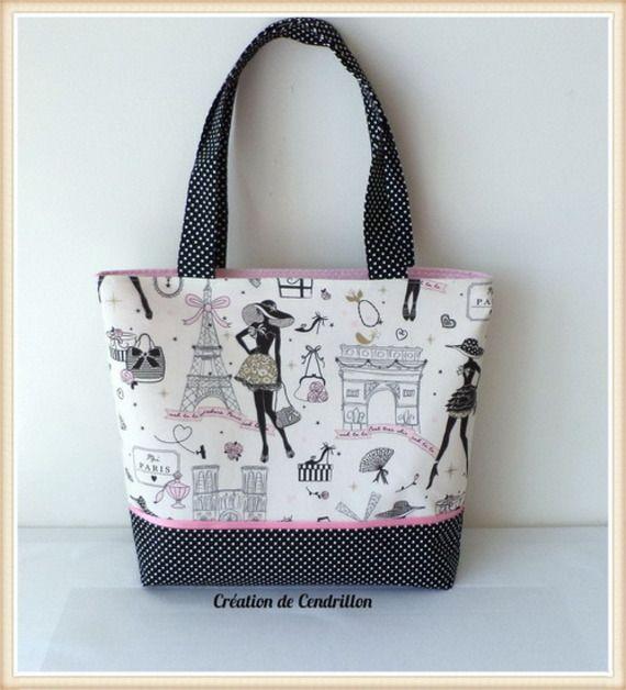 "SAC / CABAS cotton fabric ""Parisian"" fashion handmade"