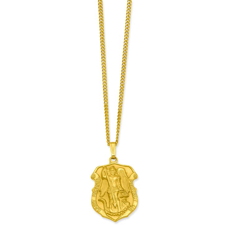 24in Gold-plated St. Michael Medal Necklace KW431