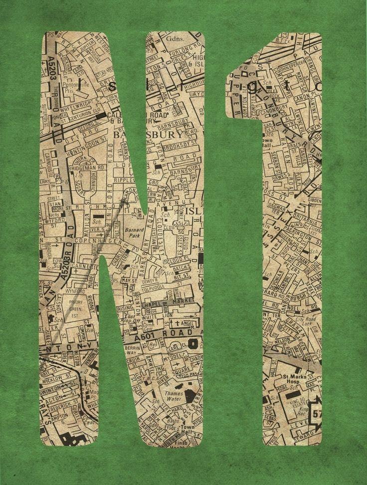 N1 Postcode Map - East End Prints