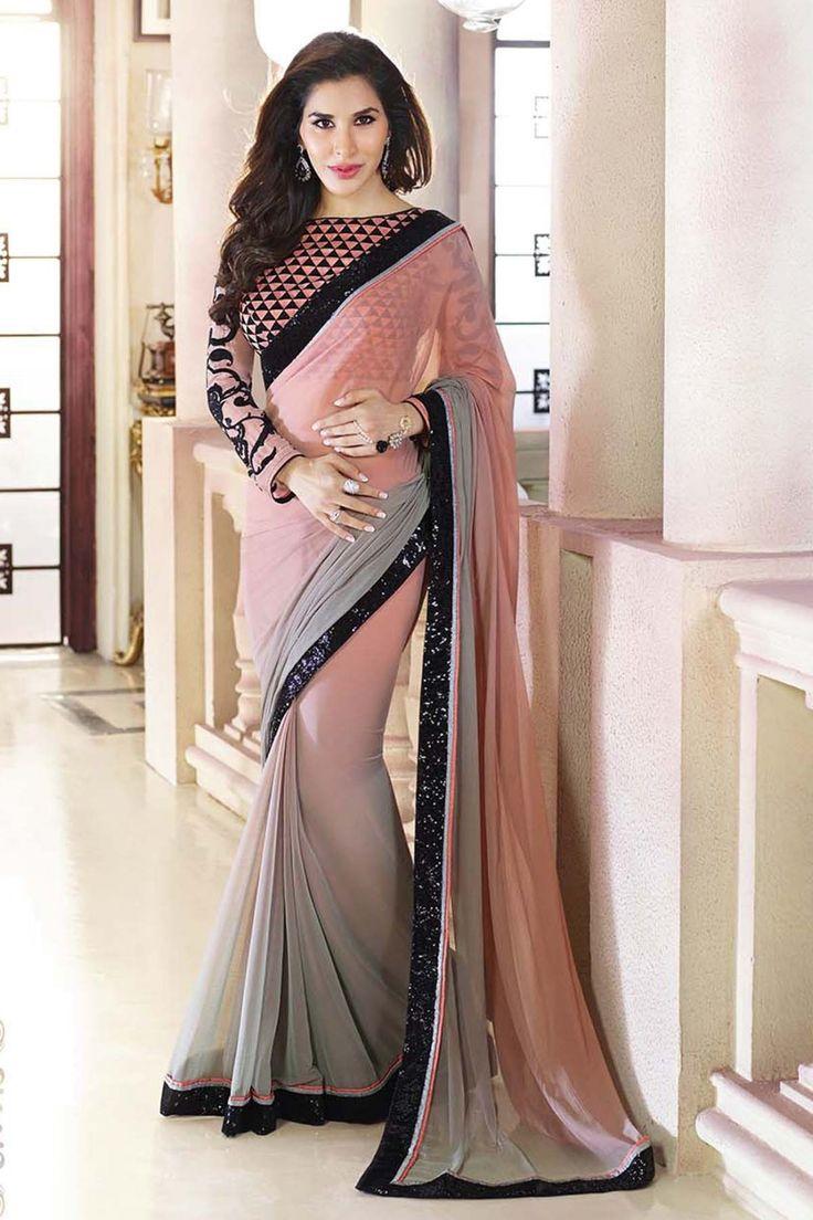Peach and gray soft padding weight less bollywood saree with blouse #saree #beautiful