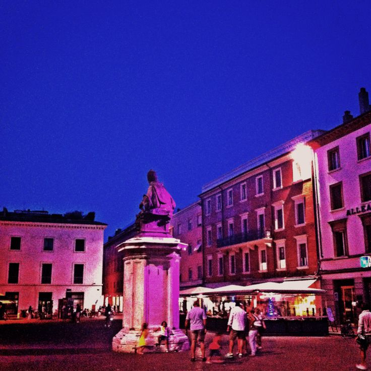 Piazza Cavour lit for the Notte Rosa