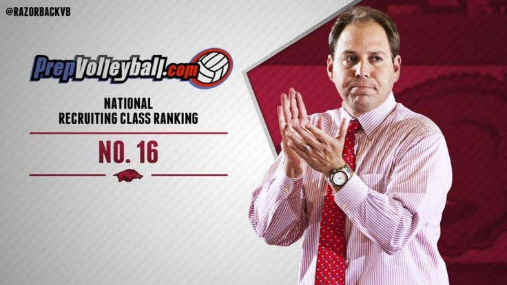The Razorback Volleyball team's incoming recruiting class was ranked no.16 in the nation! This is the highest ranked class in program history!! #GoHogs!!
