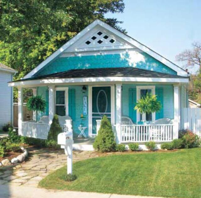 Turquoise Can Work As Exterior Paint Color On A Small House