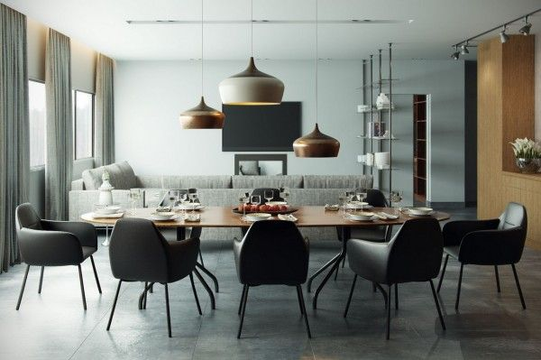 Our first eating area stretches out behind a sofa, with plenty of room to comfortably seat eight people; the dining table is oval in shape, ...