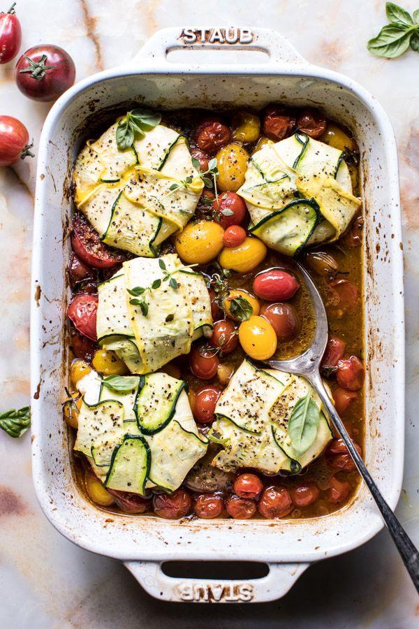 3 Cheese Zucchini Ravioli with Roasted Tomato Basil Sauce @halfbakedharvest.com