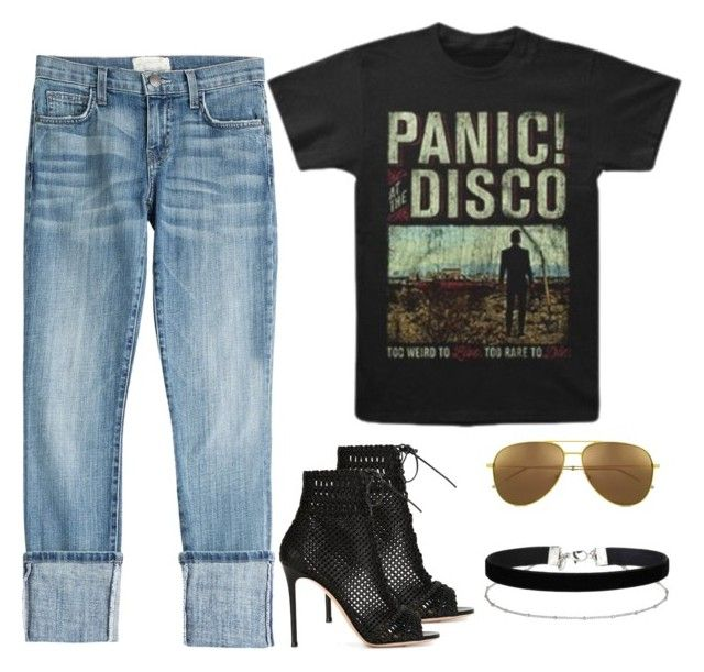 """panic at the disco📌"" by parisianights on Polyvore featuring moda, Yves Saint Laurent, Current/Elliott, Gianvito Rossi, Miss Selfridge ve vintage"