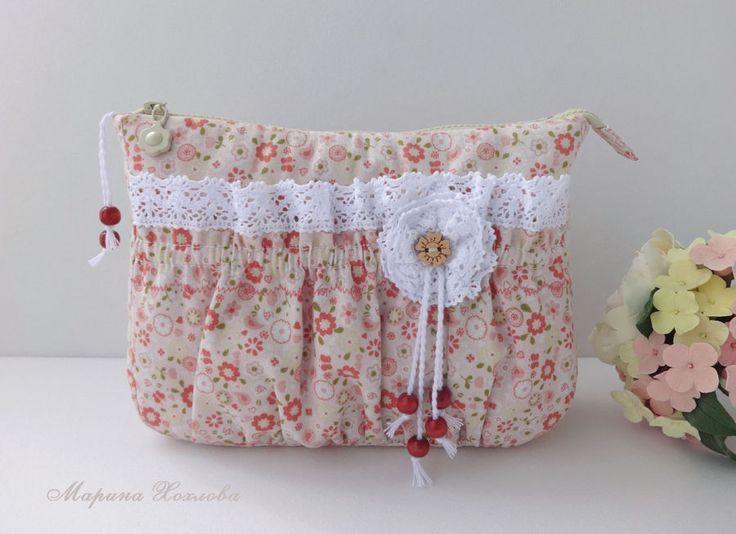 Купить Косметичка Полли - маленькая сумочка, хлопковая сумка, косметичка из ткани, цветочный, ретро стиль