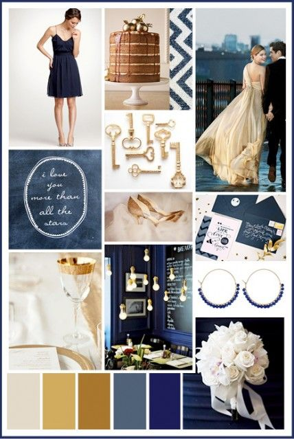 Navy and Gold wedding inspiration / navy is pretty flattering for your bridesmaids and it goes great with gold and white. Gold is GREAT for fall