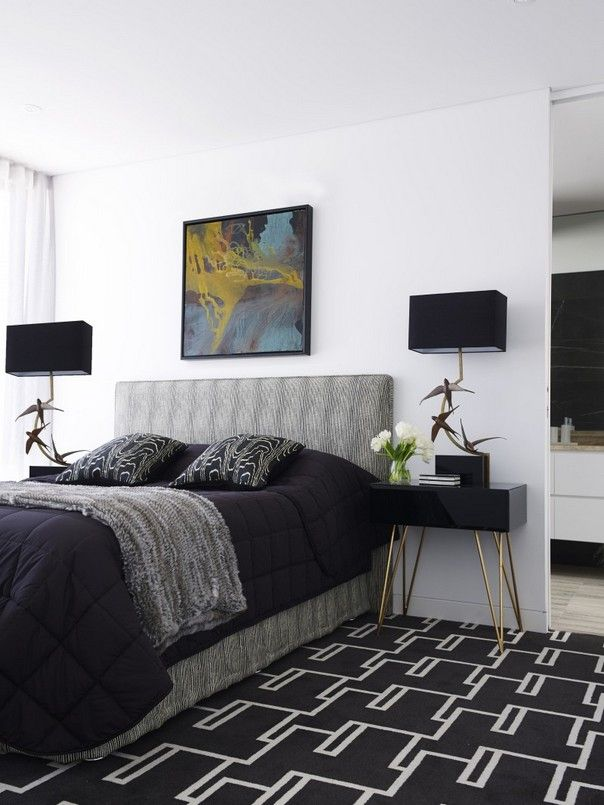 Black bedroom ideas with mid century modern table lamps | For more inspiring images, click here: http://www.delightfull.eu/en/