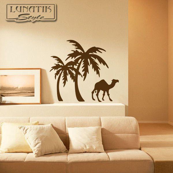 Wandtattoo Palmen Kamel Afrika